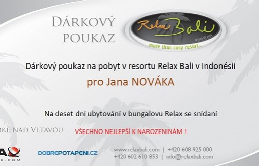 Dárková poukázka na pobyt v Relax Bali