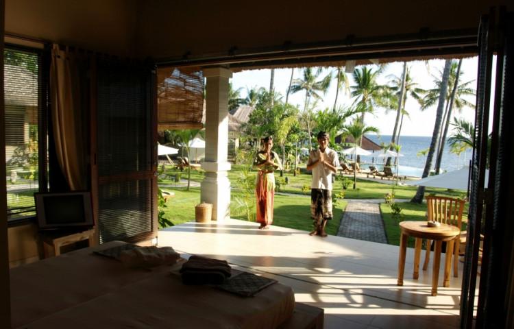 výhled y vašeho bungalovu části Relax ( de luxe) resortu RELAX BALI